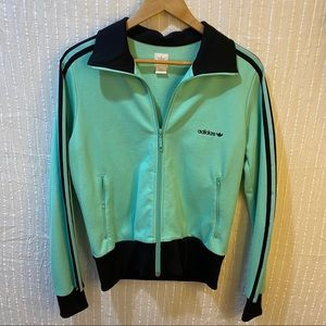 Unique adidas zip up jacket sea foam green L